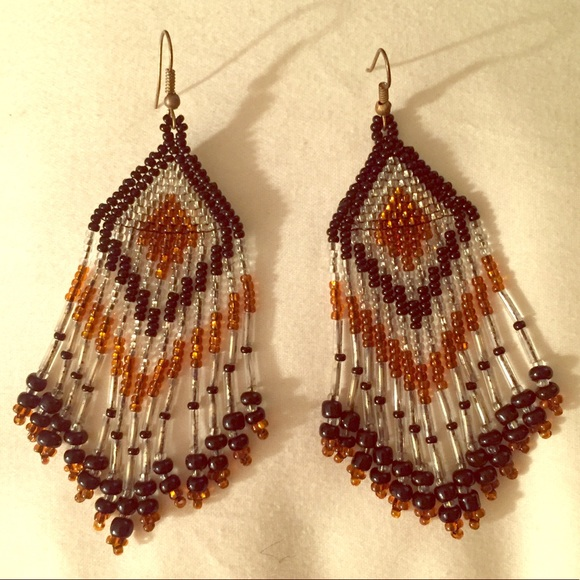 6dc995cae96e2 Native American style Beaded Earrings from Brazil